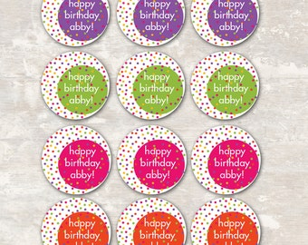 Polka Dot Cupcake Toppers (set of 12) PRINT & SHIP >> personalized and shipped to you | Paper and Cake