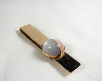 Vintage moonglow tie clip 1960s pastel pink and baby blue