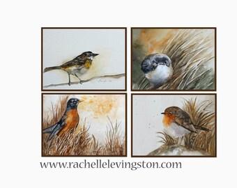 for her wall decor Bird art PRINT SET bird wall art bird Print bird watercolor painting bird 8x10 Grouping 4 bird print SALE nursery yellow