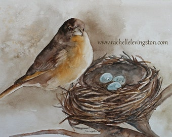 for her ORIGINAL painting watercolor painting original watercolor painting nuetral wall art nuetral home decor original bird painting 11x14