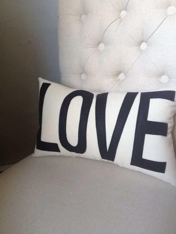 LOVE Pillow in Cream and Black
