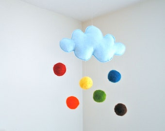 Cloud Mobile in Blue - Rainbow Baby Mobile - Nursery and Home Decor - Felted Wool Mobile