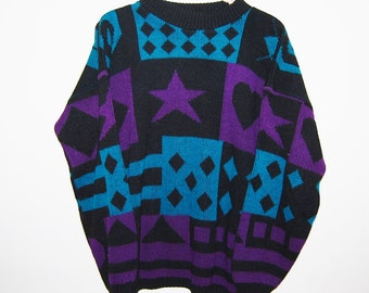 Vintage Sweater Hipster Geometric Mod All Star