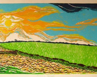 Riceland Sunset, limited edtion, hand printed, hand signed in pencil by artist