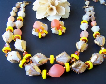 ON SALE Vintage Estate Jewelry Deauville J.R. Woods and Sons Statement 2 strand Necklace and Clip Earring Set Beige , Yellow , Orange