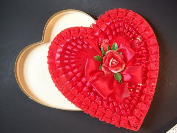 Vintage Box Valentine Chocolate Heart Shaped Box By