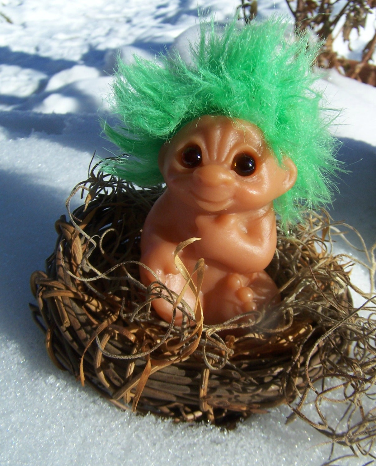 Vintage Toy Dam Troll Baby With Green Hair 1985 Sitting