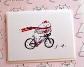 Coffee To Go Cat Card - Bike Card- Cycling- Coffee Art