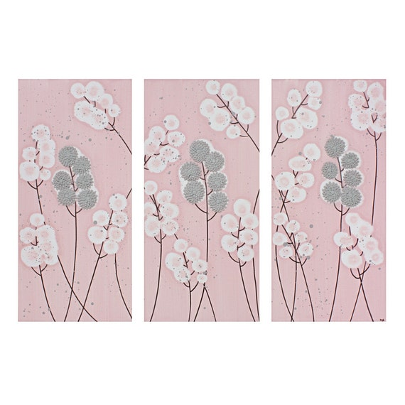 Pink and gray nursery wall art textured painting by amborela for Room decor embellishment art 3d