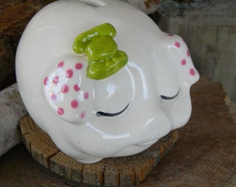 Pig. White ceramic  Piggy Bank Vintage Inspired penny baby nursery decor Fuchsia and Lime green
