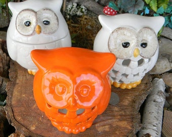 Ceramic Owl Lantern  Candle Holder  fruit Orange Neon