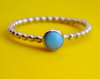 Happy Dots Sterling Silver Ring With Tiny Bezel Set Turquoise Stone