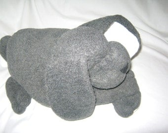 Little Puppy Dog  Stuffed Animal One of a Kind Gray White Pre-washed Fleece No Buttons Priority Shipping