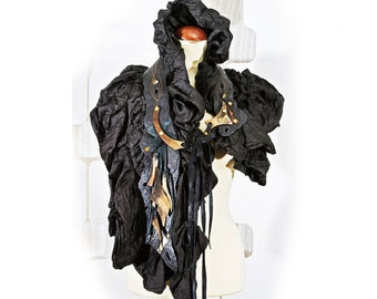 North Storm Black Silk Leather Shrug - Indie couture Fashion Accessory - wearable Art - modern design - Lapland - mystical Design