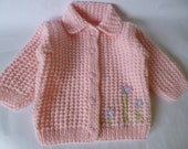 REDUCED PRICE  Baby Girl Sweater.   Baby Coat  Size 12 Months. Soft Acrylic Yarn Baby Sweater