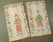 Vintage Towels, His and Her Towels, Hand Towels, Cross Stitched Towels, Folk Costume Towels, Orange and Green, Linen Hand Towels, Man Woman