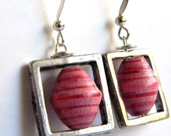 Paper Bead Jewelry - Earrings - #161 - Valentine's
