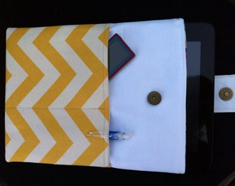 Tablet, IPad Sleeve, Cover, Case by JoJo Couture in Yellow Chevron