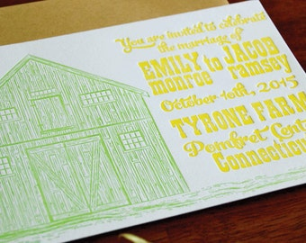 Barn -  Letterpress Wedding Invitation Sample