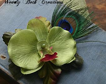 Lime Green Orchid Hair Clip Fascinator - Pin Up, Wedding, Belly Dance, ATS, Hari Garden, Tribal