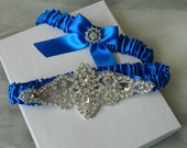 Wedding Garter,Bridal Garter, Royal Blue Satin With Crystal Rhinestone Applique