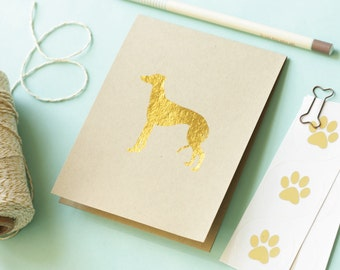 Stationery Dog Breed Gold Foil on Kraft Paper Set of 12 All Breeds