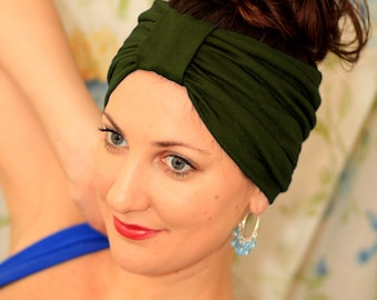 Turban Headband - Hair Warp in Olive Jersey Knit - Boho Style Wide Headbands - 24 Colors