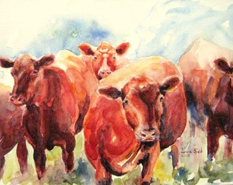 ORIGINAL Brown Cows watercolor painting brown cow painting 9x12