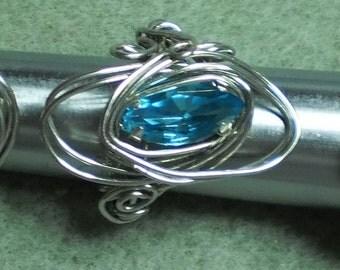 Aqua Blue Rhinestone Navette Wire Wrapped Ring