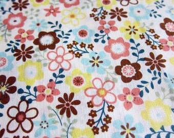 FREE SHIPPING Japanese Cotton Fabric - Whimsical Floral in Pastels Fabric (F008) -  Fat Quarter