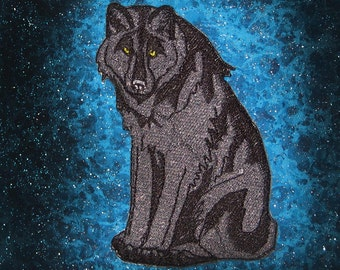 Black Grey Wolf  Iron on Patch