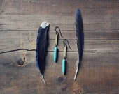 Welkin. Turquoise Magnesite Spike and Textured Brass Earrings.
