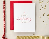 Red and Gold Foil Letterpress Birthday Card
