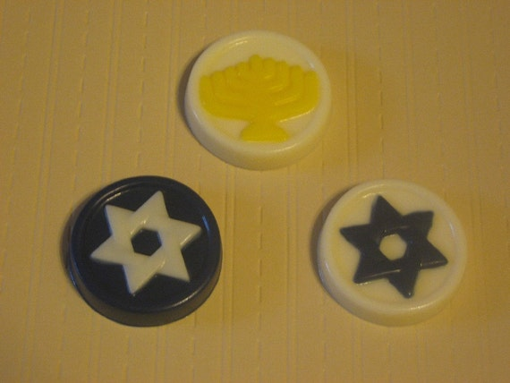 One dozen (12 pieces) Jewish Hanukkah Chanukah holiday symbols bite size