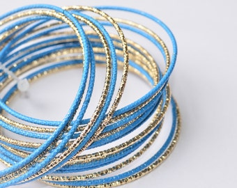 Sky Blue Gold Bangles, Gold Multi Bangles,Fashion Bangles, Gift for Her, Modern Style Bracelets, Special Occasion, Thin Bangles