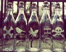 Custom Etched Glass Swing Bottles - Set of 1