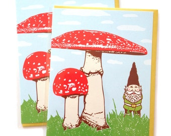 Gnome Card, Blank Greeting Card, Single A2 size, Red Mushrooms Greeting Cards, blank inside, cute original woodland design, recycled paper
