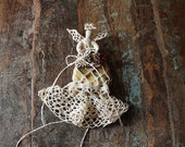 crocheted lace angel / unique rustic, woodland, christmas home- table decor -wedding ring bearer // ooak