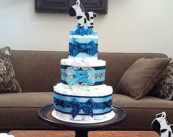 Zebra Boy Diaper Cake Baby Shower Centerpieces blue and black Three tier cake sizeother colors and sizes available too