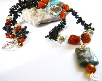 Live Your Truth - Necklace / Imperial Turquoise Jasper, Mocca Bamboo, Baltic Amber