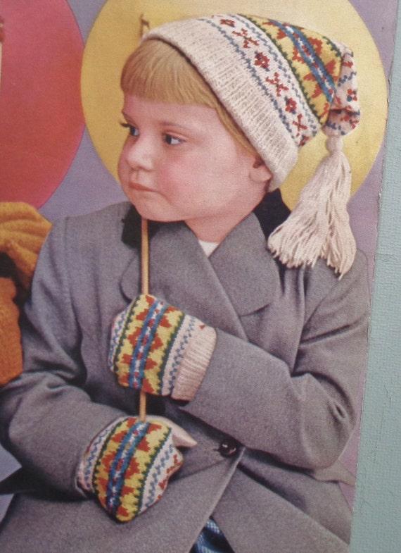 Vintage Knitting Pattern Beret : Vintage Knitting Pattern 1940s 1950s 40s 50s Girls Beret Hat Gloves Set Boys ...
