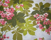 7 1/8  yards 45 wide vintage 70s pink / green floral print bark cloth fabric
