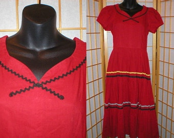 Vintage 50s red tiered dress womens size small