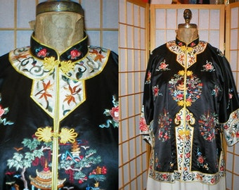 50s embroidered asian silk shirt  / blouse / jacket womens size large