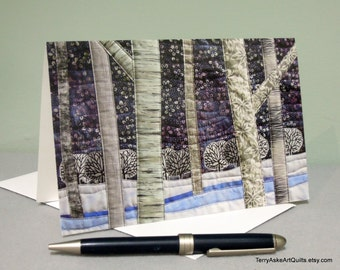 "Art Quilt Note Card - ""Starry Winter Night"""