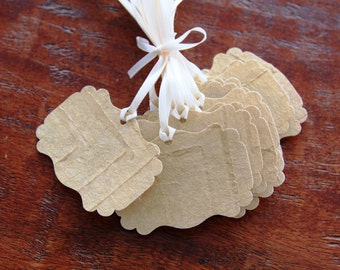 Handmade Gold Paper Tags, Gold Tags, Gold Gift tags, Bridal Shower Tags, Gift Tags