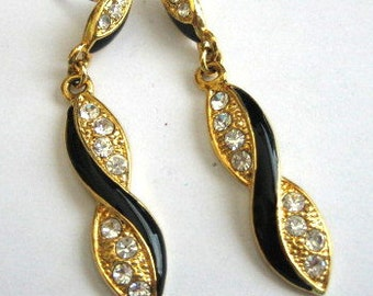 Retro Gorgeous Gold Black Enamel Dangle Rhinestone Earrings