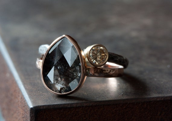 Custom Natural Rose Cut Black Diamond Engagement Ring by LexLuxe