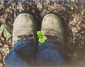 Boot Photograph, Hiking Photo, Rustic Home Decor, Brown, Spring Green, Blue, Woodland Decor, Fine Art Photography, Rustic Nature, Wall Decor