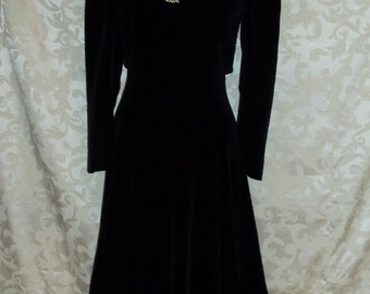 Vintage Black Velvet Gown and Shrug Jacket By Fonwit Teller Fifth Avenue New York